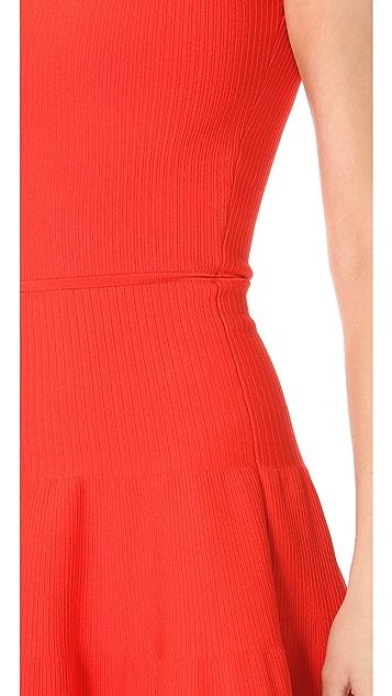 ISSA Ribbed V Back Dress