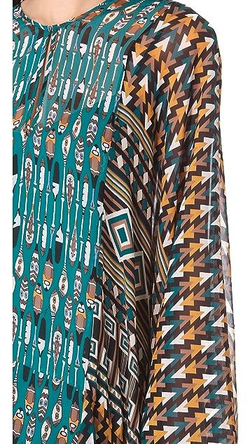 ISSA Wide Sleeve Print Caftan