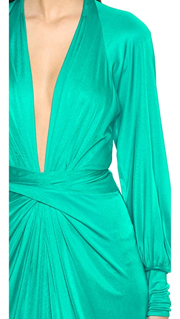 ISSA Tie Front Maxi Dress