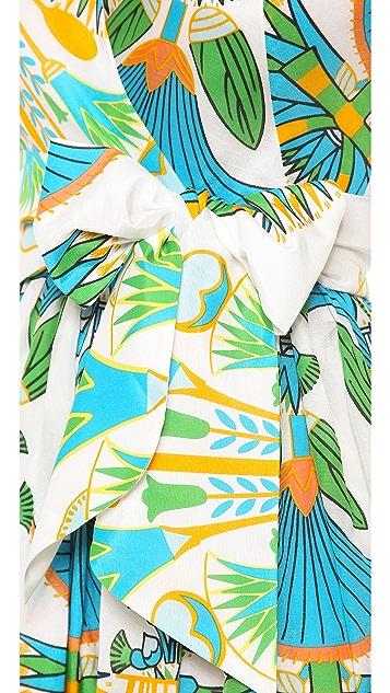 ISSA Printed V Neck Dress