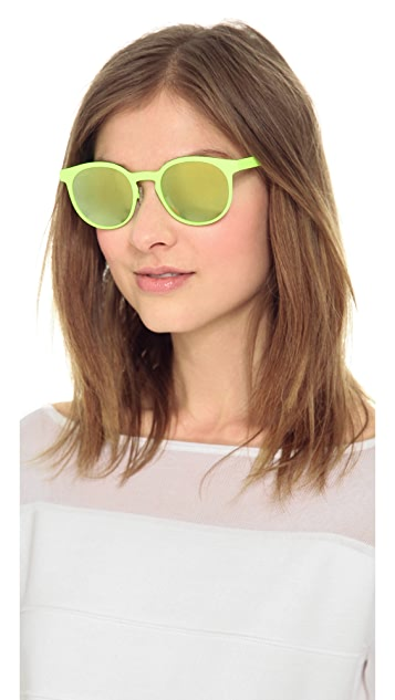 Italia Independent Round Neon Sunglasses with Mirrored Lenses