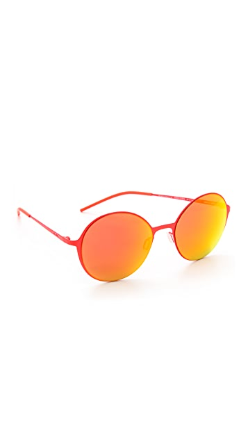 Italia Independent Round Thin Metal Sunglasses