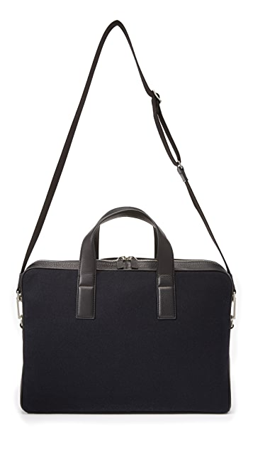 Jack Spade Kahn Wool and Leather Briefcase