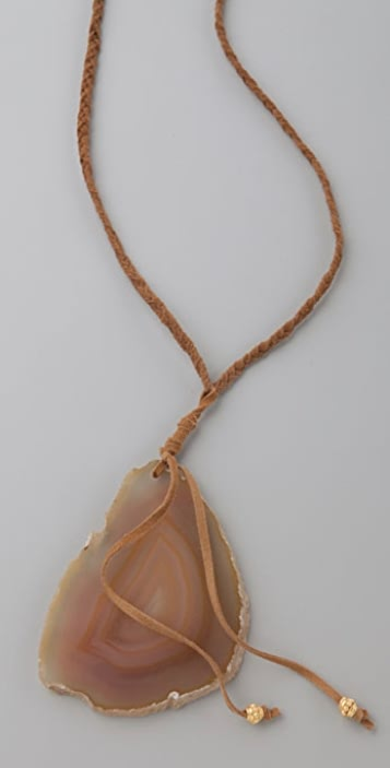 Jacquie Aiche Agate Slice Braided Leather Necklace