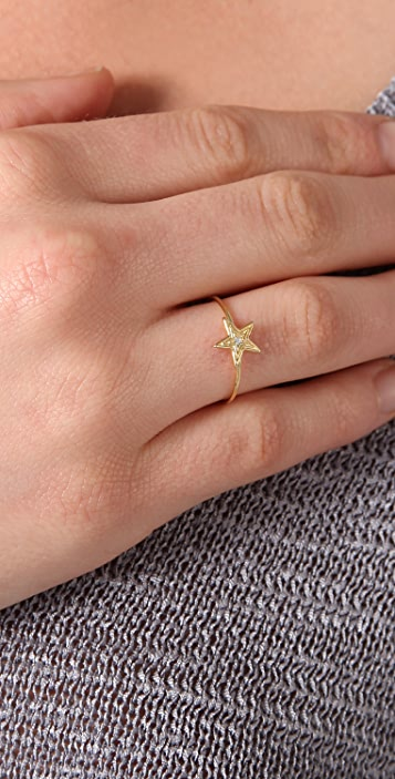 Jacquie Aiche Large Star & Diamond Waif Ring