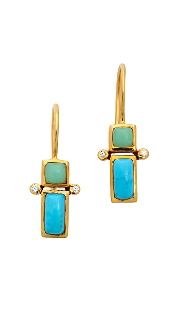 Jacquie Aiche JA Chrysoprase & Turquoise Rectangle Earrings