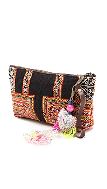 JADEtribe Hand Embroidered Wristlet Clutch