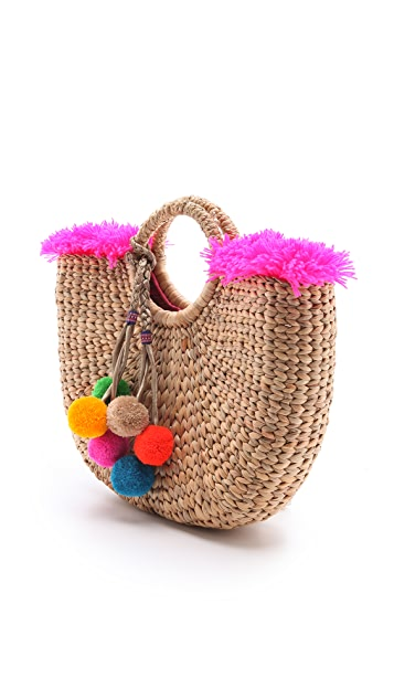JADEtribe Fringed Beach Basket Bag