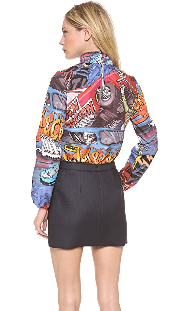 J.W. Anderson Car Print Ruched Neck Top