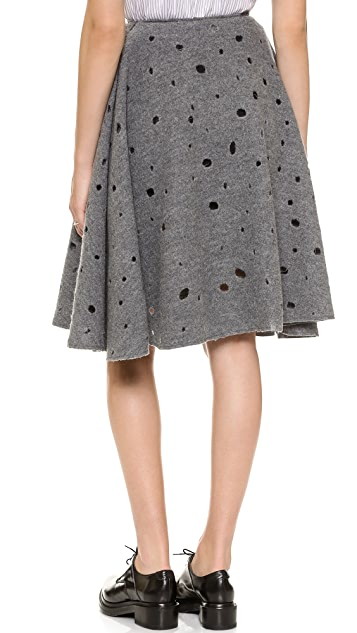 J.W. Anderson Perforated Wool A-Line Skirt