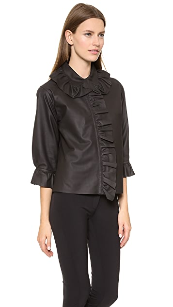 J.W. Anderson Paper Leather French Ruffle Shirt