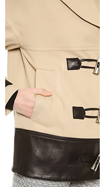 Jason Wu Cropped Combo Toggle Coat