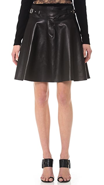 Jason Wu Leather Utility Flounce Skirt