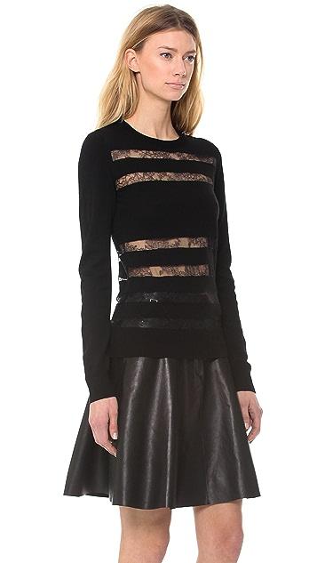 Jason Wu Merino & Lace Striped Pullover