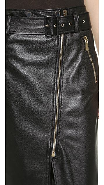 Jason Wu Textured Leather Motorcycle Pencil Skirt