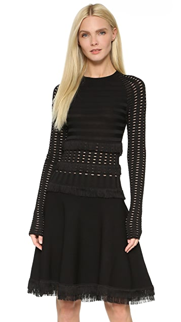 Jason Wu Collections Grid Long Sleeve Dress with Fringe