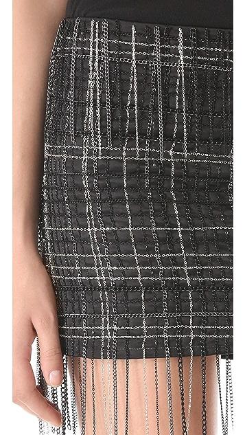 Jay Ahr Chain Embroidered Miniskirt