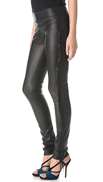 Jay Ahr Chain Fringe Leather Pants