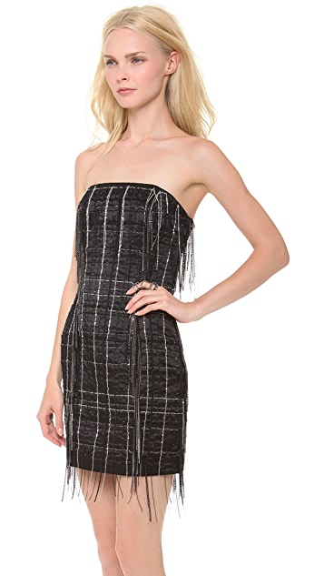 Jay Ahr Strapless Chain Mini Dress