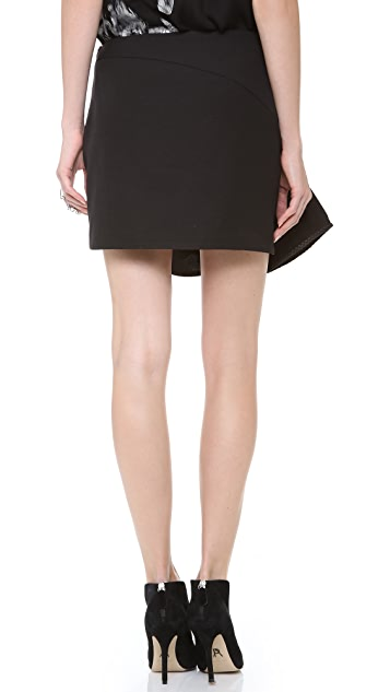 Jay Ahr Miniskirt with Leather Trim
