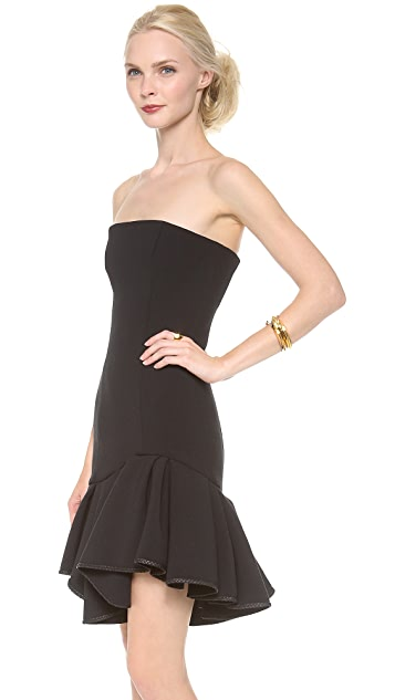 Jay Ahr Strapless Dress with Leather Trim