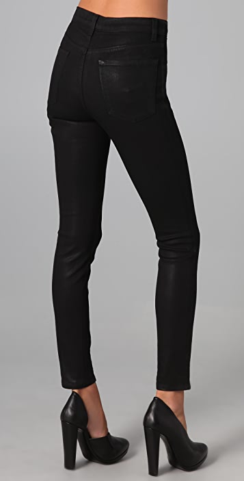 J Brand Waxed High Rise Skinny Jeans