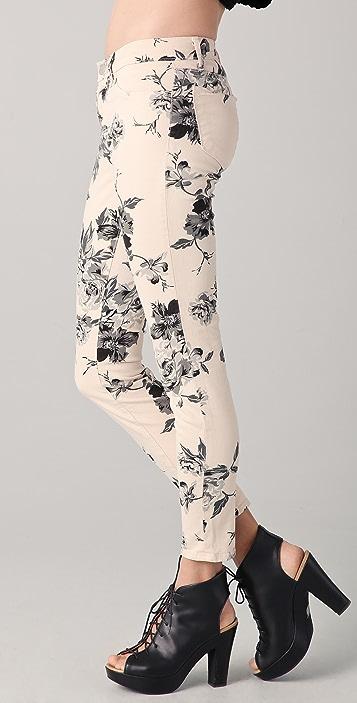 J Brand Large Floral Print Skinny Jeans