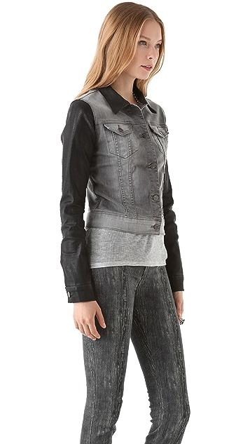 J Brand Denim Jacket with Coated Sleeves