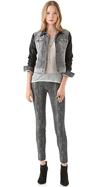 J Brand Denim Jacket with Coated Sleeves