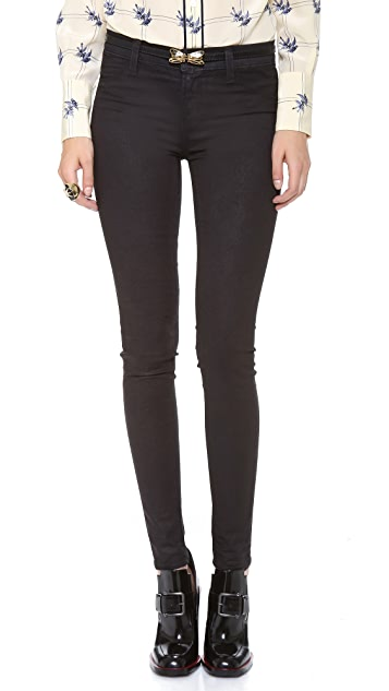 J Brand 801 Coated Mid Rise Skinny Jeans
