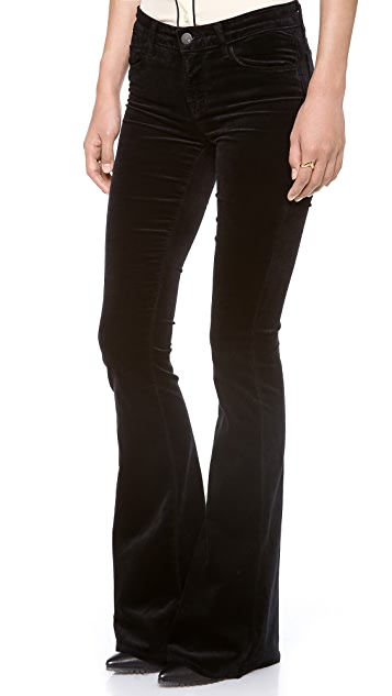 J Brand Martini Velvet Skinny Flare Pants