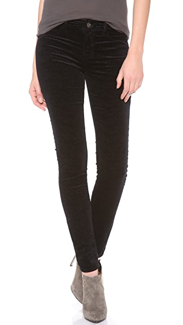 J Brand 815 Embossed Velveteen Legging Pants
