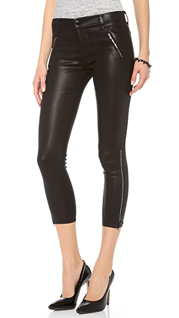 J Brand Carey Zip Coated Moto Jeans