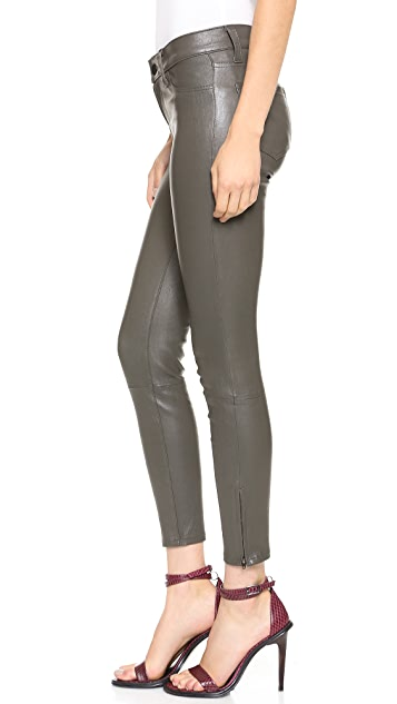 J Brand L8035 Midrise Leather Capri Pants