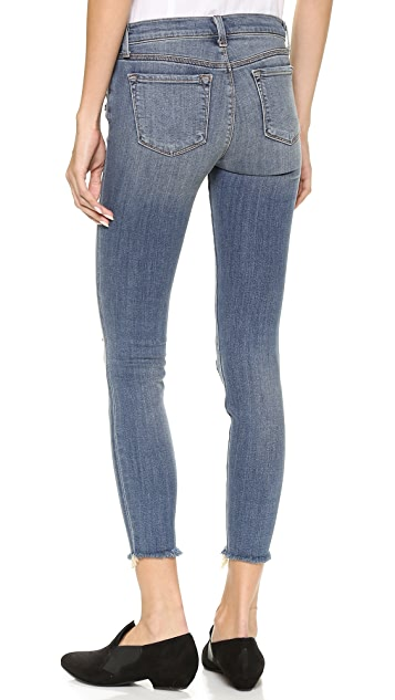 J Brand Mid Rise Destructed Cropped Jeans