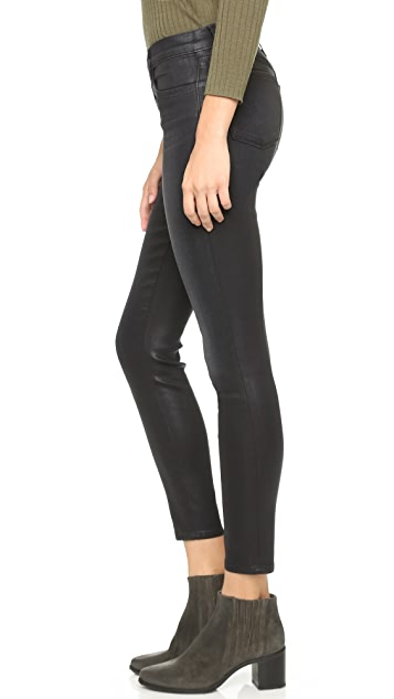 J Brand Alana High Rise Coated Cropped Jeans