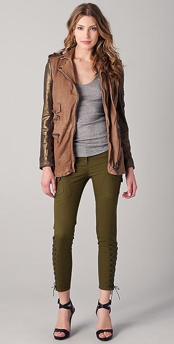 Just Cavalli Mid Length Leather Moto Jacket