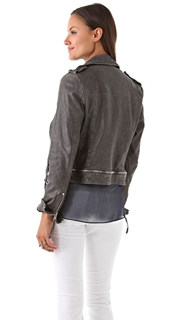 Just Cavalli Zip Washed Leather Jacket