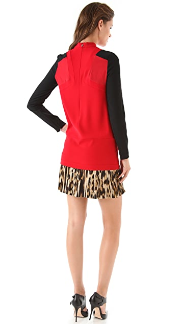 Just Cavalli Shift Dress with Leopard Skirt