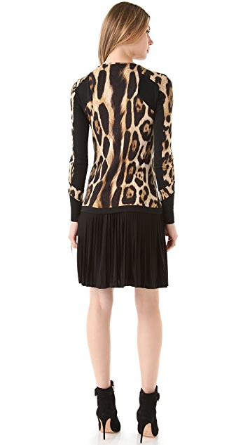 Just Cavalli Long Sleeve Leopard Dress