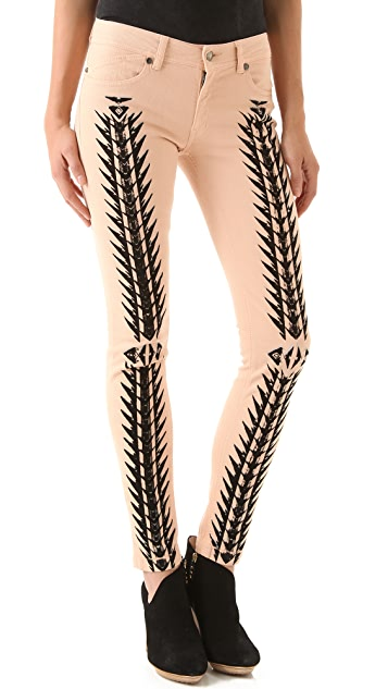 Just Cavalli Tribal Print Skinny Jeans