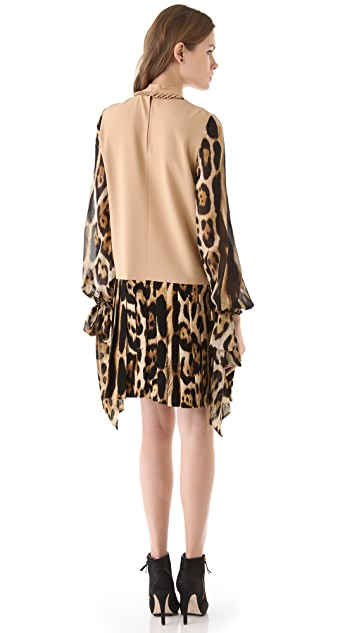 Just Cavalli Combo Leopard Dress