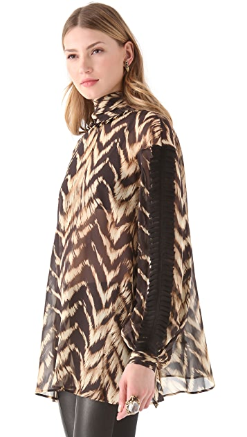 Just Cavalli Print Turtleneck Blouse
