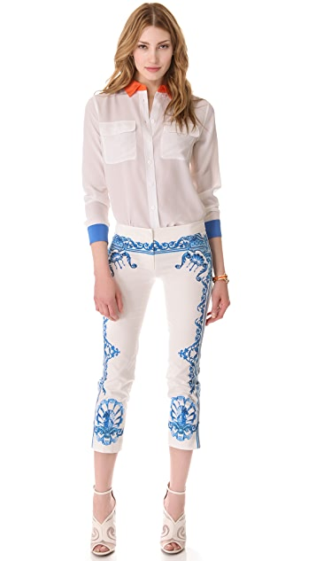 Just Cavalli Print Cropped Pants
