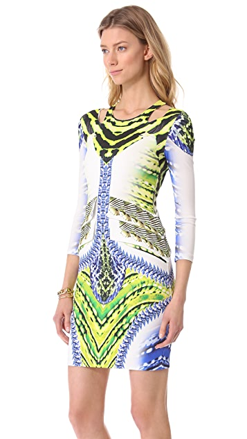 Just Cavalli Printed Long Sleeve Dress