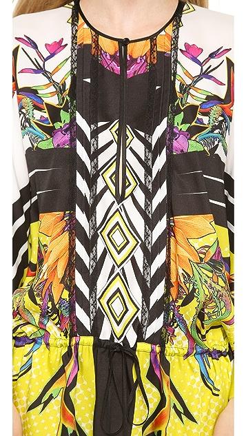 Just Cavalli Tartan Flower Print Caftan Dress