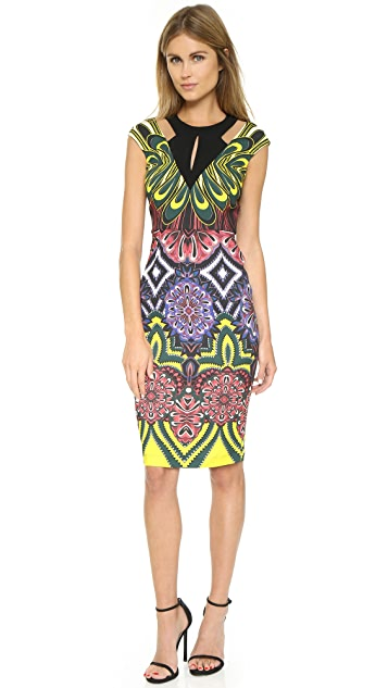 Just Cavalli Fridas Diary Print Cap Sleeve Dress