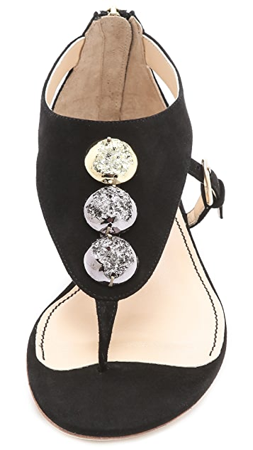 Jerome C. Rousseau Sumo Suede Sandals with Stones