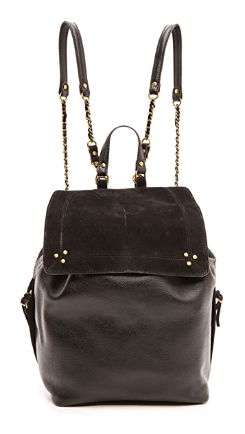 Jerome Dreyfuss Florent Caviar Noir and Noir Velvet Bag