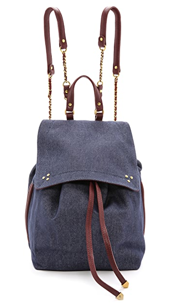 Jerome Dreyfuss Florent Bleu Denim & Bordeaux Backpack